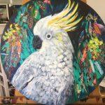 White Cockatoo - round canvas - SOLD