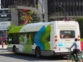 Bus having lunch - this electric bus was being recharged right in the middle of the city