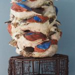 Pottery kookaburras on metal stand - (ht = 60cm)